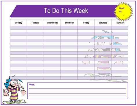 pics for gt weekly to do list template