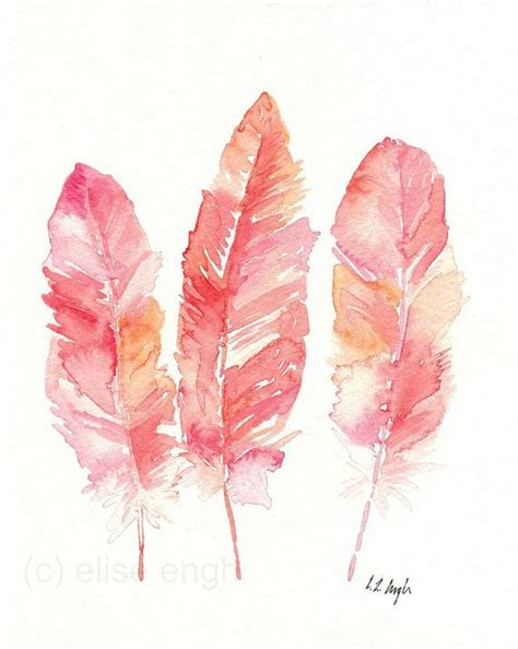 pink coral orange feathers illustration original watercolor painting 8x10 bird feathers