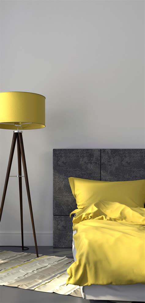 gray bedroom and yellow decor
