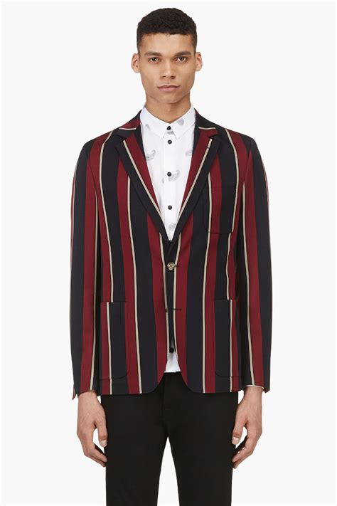 striped sleeve blazer grey navy ami burgundy and navy striped blazer in blue for lyst