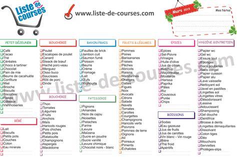 Liste De Courses by Liste De Courses Type A Imprimer Images Rangement