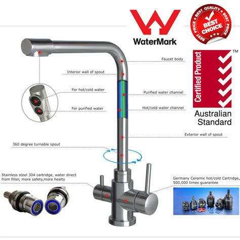 Australia WaterMark Stainless Steel 3 way Water Filter