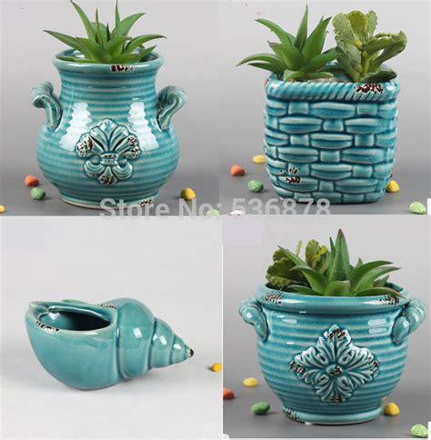 modern decoration ceramic indoor plant pot flower pot home 4 pieces ceramic porcelain planter plant bonsai pot