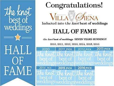 Villa Siena is The Knot's Best of Weddings 2016!