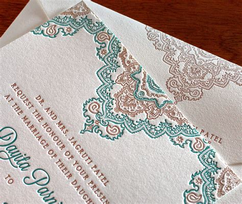 fall indian wedding colors copper and teal letterpress - Wedding Invitations Teal And Copper