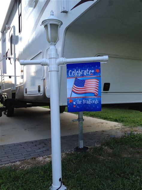 lamppost  flag pole   campsite   pvc