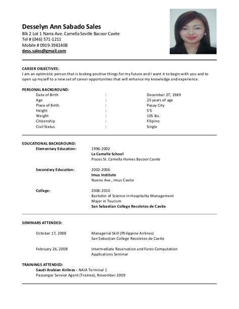 Resume Sles For Casino Cashier Desselyn Sales Cv