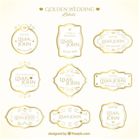 Wedding Labels by Luxury Golden Wedding Labels Vector Free