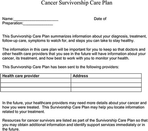Appendix E Template For Quot Cancer Survivorship Care Plan Quot Tested In Iom Focus Groups And Cancer Treatment Plan And Summary Templates