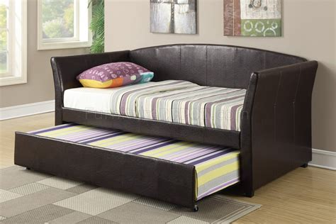 double trundle bed bedroom furniture f9221 twin bed w trundle by poundex in espresso faux leather
