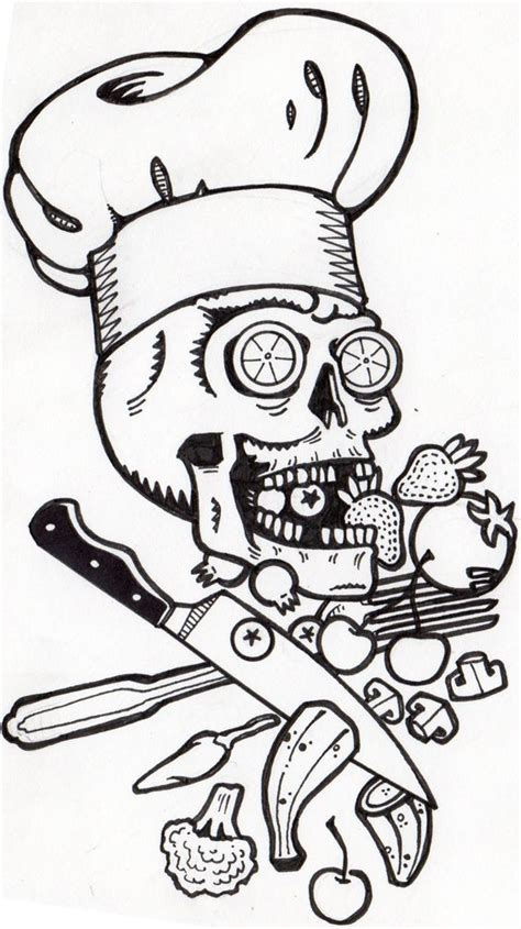 tattoo chef cartoon chef skull by tyler lewis goshen skulls pinterest