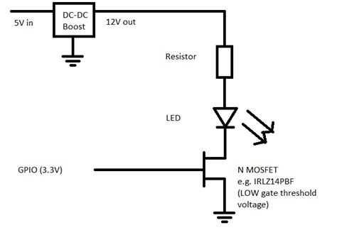 12v to 5v using resistor arduino basic power drive 12v led from 5v raspberry pi output no 12v supply available
