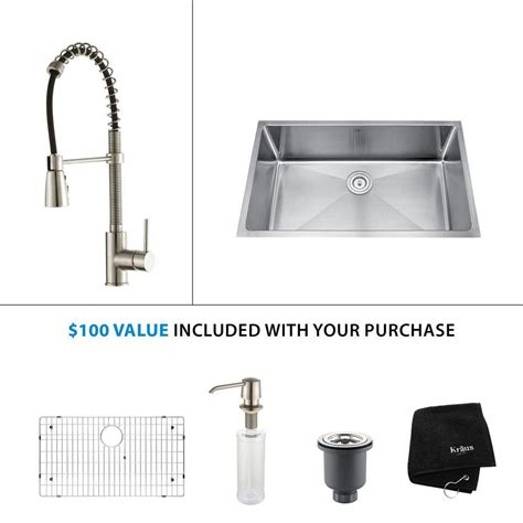 Kraus Stainless Steel Kitchen Sink Kraus All In One Undermount Stainless Steel 32 In Single Bowl Kitchen Sink With Faucet And