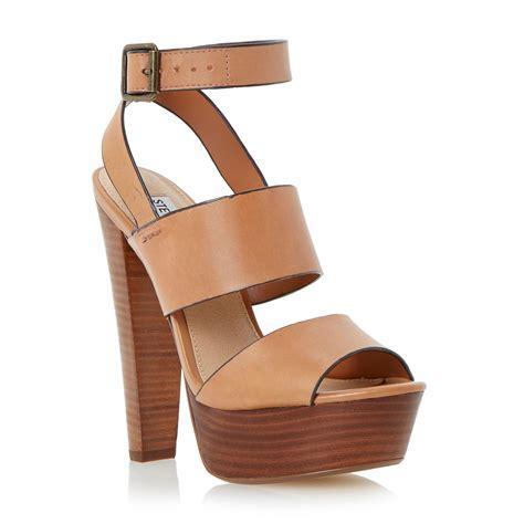 steve madden sandal heels steve madden dezzzy platform heel leather sandals in brown