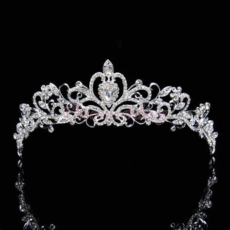 Luxury Sparkling Silver Plated Austrian Princess Tiara bridal princess austrian tiara wedding crown veil
