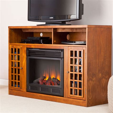 narita electric fireplace media cabinet in glazed pine