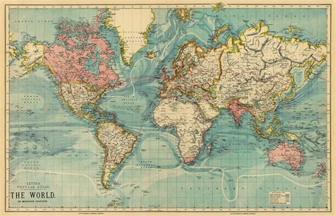 map of print vintage map of the world 30 x 46 5 print on