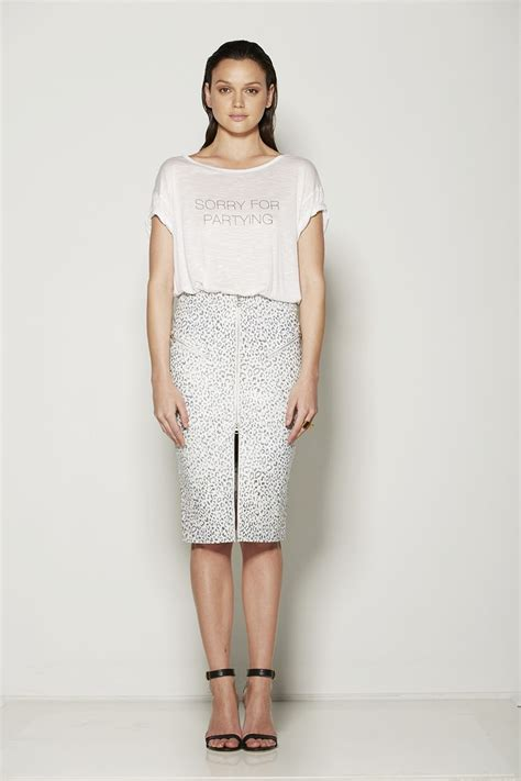 Pencil Skirt Snow by Leather Zip Pencil Skirt In Snow Leopard The Streets