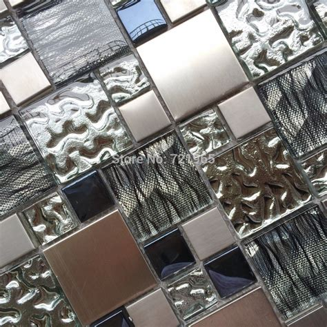 silver metal mosaic stainless steel tile kitchen
