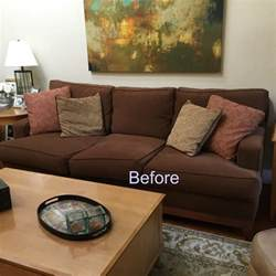 Throw Pillows For Brown Sofa Brown Blues Mini Makeover Before And After Classic Casual Home