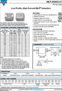 ihlp inductor material ihlp2525czerr20m01 datasheet specifications inductance 100nh tolerance 20
