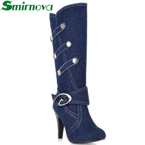 2016 new fashion boots autumn denim knee high boots