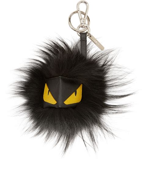 Whats Black And White And Fendi All by Fendi Black Leather And Fur Keyring In Black For