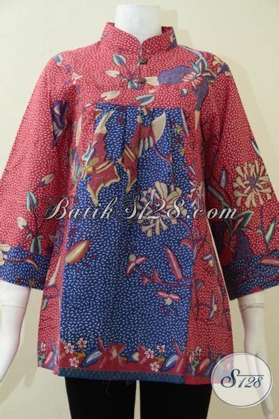 Terlaris Kemeja Batik Godong Biru blus wanita krah shanghai paduan warna merah dan biru