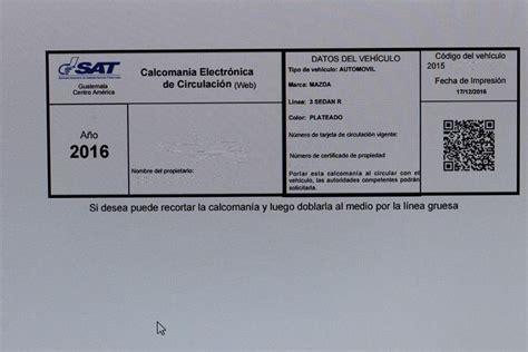imprimir calcomania de vehiculos de 2016 191 volver a imprimir el pago del impuesto de circulaci 243 n la