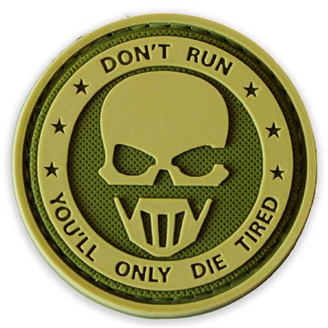 Patch Pacth Rubber 3d Airsoft Gun Rubber Patch Pvc don t run green tactical rubber patch