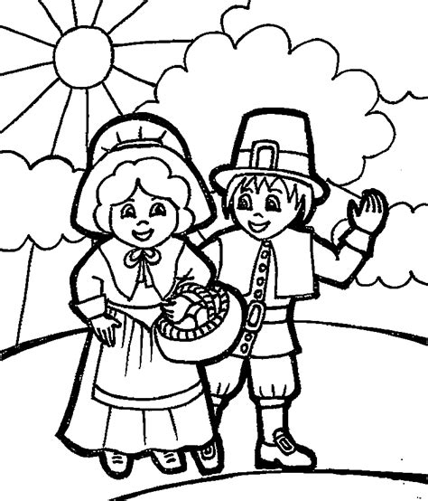 Thanksgiving Coloring Pages Printables Pilgrims | kids printable pilgrim coloring pages for thanksgiving