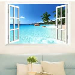temporary wall murals beach resort 3d window view removable wall sticker vinyl