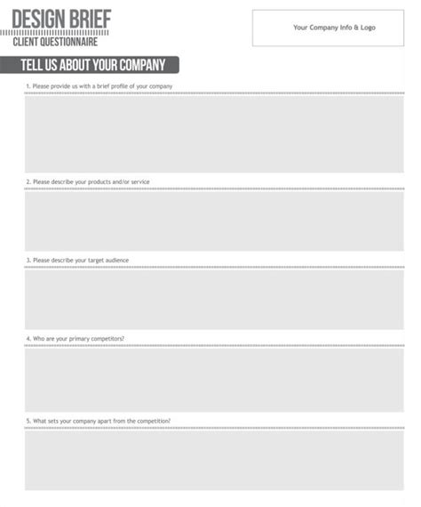 design brief questionnaire establishing a client intake process vandelay design