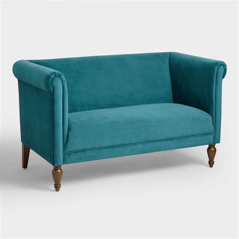 velvet loveseat pacific blue velvet marian loveseat world market