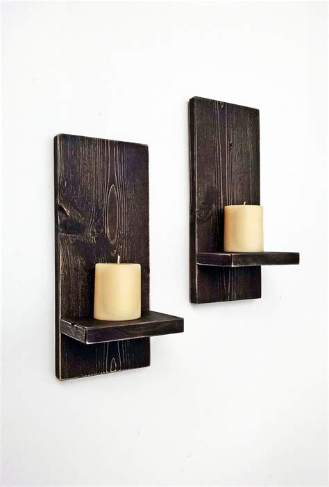 Wood Wall Sconces For Candles rustic wall sconces pair wood wall candle by blueridgesawdust