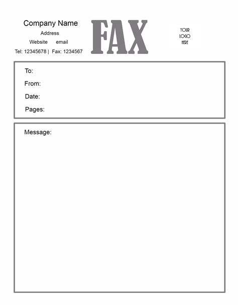 printable fax cover sheet free fax cover letter template