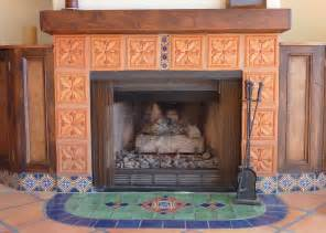 Mexican Chimney Fireplace And Hearth Using Mexican Tiles By