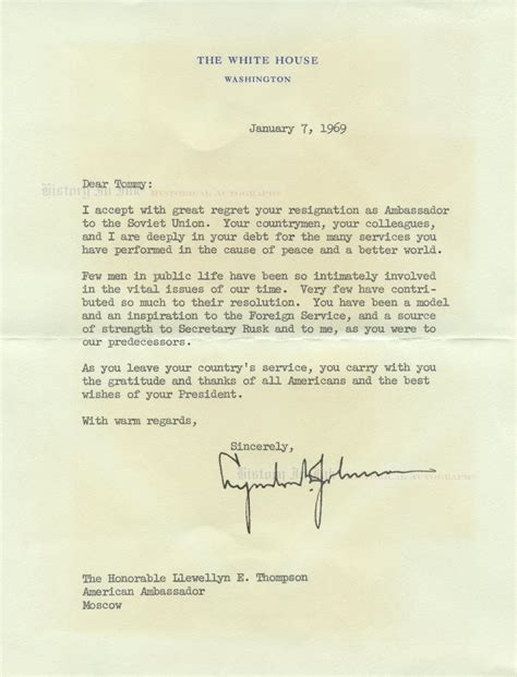 Resignation Letter White House Lyndon B Johnson Autograph 1403312 White House Letter Accepting The Resignation Of