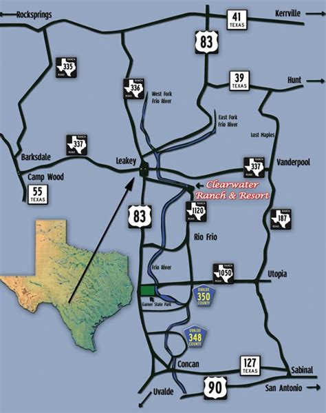 clearwater texas map clearwater ranch resort on the frio location map