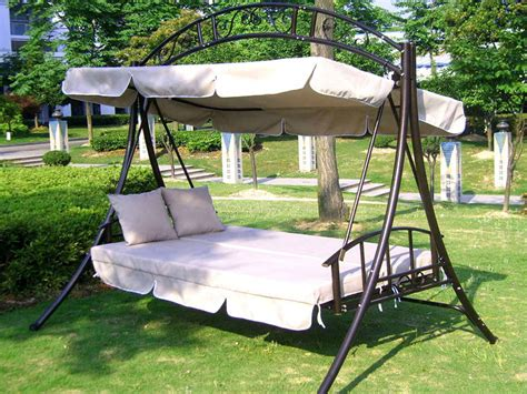 swing features 3 person all weather swing chair and bed with toss pillows