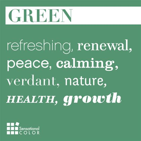 green color meaning words that describe green sensational color