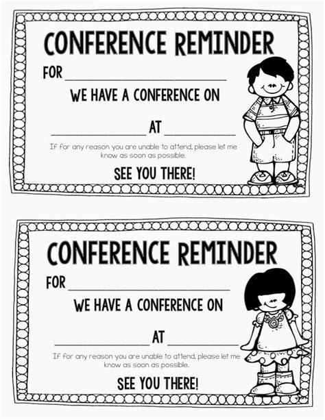 reminder templates for teachers 7 best images of parent conference printables