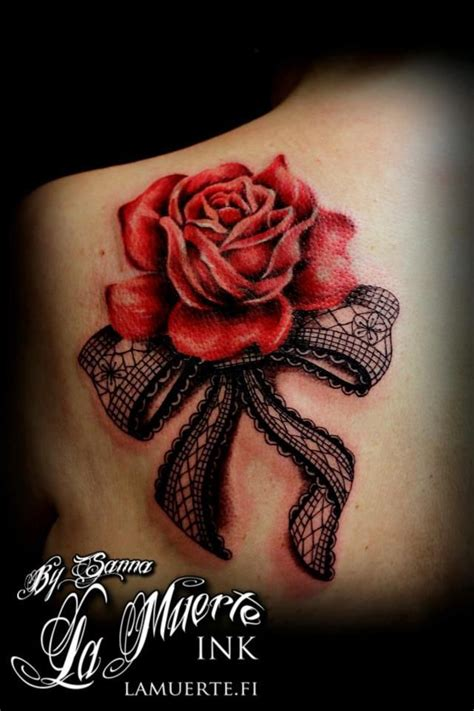 red rose and lingerie bow tattoo ink pinterest