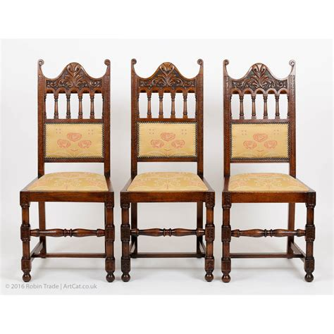 Carved Dining Chairs Antique Deco Set Of 6 Oak Carved High Back Dining Chairs With Carving