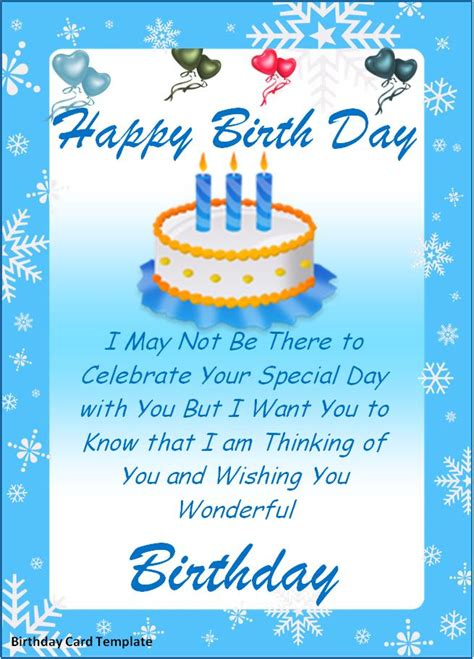 Birthday Card For Template by Birthday Card Template New Calendar Template Site