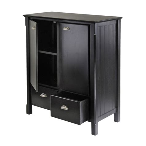winsome wood timber storage cabinet matte black 20136