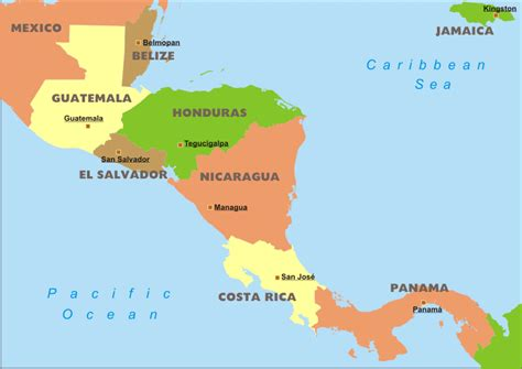 map of central central america political map