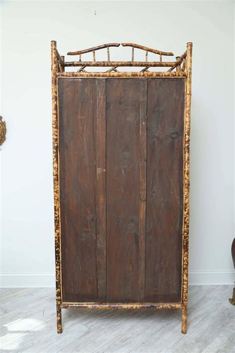 Antique Bamboo Cabinet with Chicken Wire Doors For Sale at