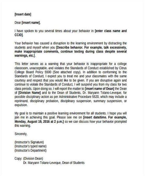 behavior warning letter templates