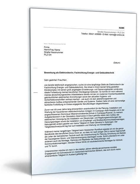 Bewerbungsschreiben Ausbildung Elektriker anschreiben bewerbung elektroniker muster zum
